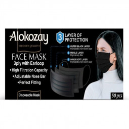 Alokozay Black Face Mask 50 Pcs - 3 Ply