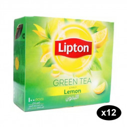 Lipton Green Tea Lemon-100 Tea Bags Pack of 12