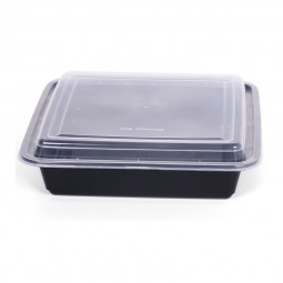 Hotpack Rectangle Black Base Container 48oz
