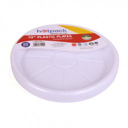 Hotpack Disposable Plastic Plates 10 Inches