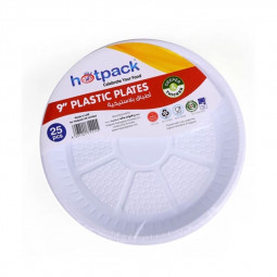 Hotpack Disposable Plastic Plates 9inches