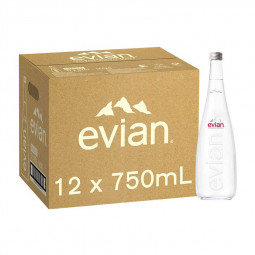 Evian Natural Mineral Water Glass Bottle 750ml