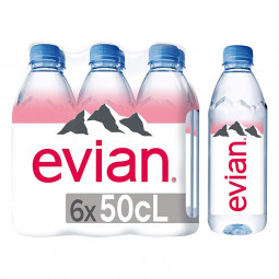Evian Natural Mineral Water 500ml Pack of 6